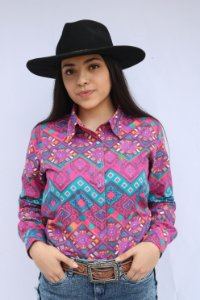 Camisa Feminina Country Étnica Arabesco