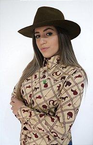 Camisa Feminina Country Bege Horse Vinho