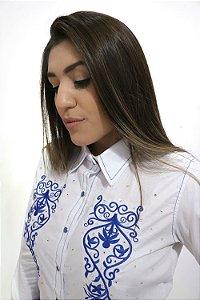 Camisa Feminina Country Bordada Branca