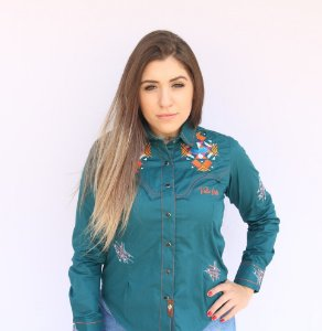 Camisa Feminina Country Bordada Verde