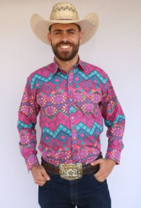 Camisa Masculina Country Étnica Arabesco