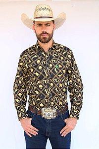 Camisa Masculina Country Preta Horse Dourado