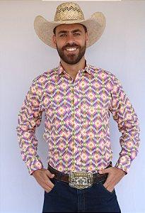 Camisa Masculina Country Étnica Folk