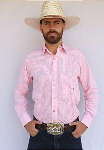Camisa Masculina Country Xadrez Americano Rosa e Branco