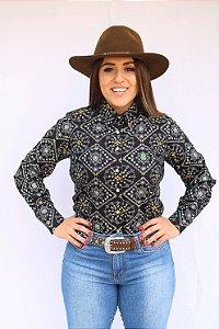 Camisa Feminina Country Bandana Preta
