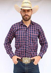 Camisa Masculina Country Xadrez Azul e Laranja