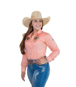 Camisa Feminina Country Bordada Salmão