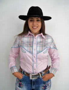 Camisa Feminina Country Rosa Recorte Xadrez