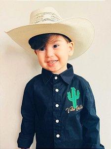Camisa Country Infantil Preta Bordada