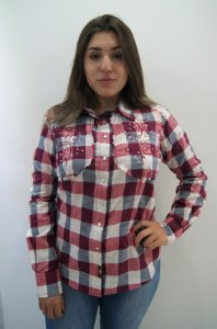 Camisa Feminina Country Xadrez Vinho