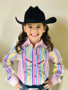 CAMISA INFANTIL COUNTRY BORDADA LISTRADA