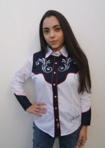 CAMISA FEMININA COUNTRY RECORTE RODEO