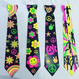 gravata neon retro 12 unidades
