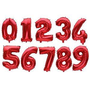 Balão Metalizado Número Vermelho Pequeno