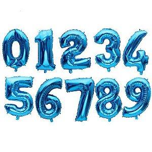 Balão Metalizado Número Azul Médio