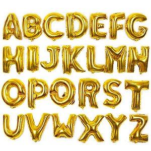 Balão Metalizado Dourado Alfabeto Gigante