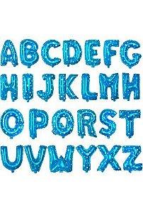 Balão Metalizado Azul Alfabeto Médio