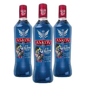 Kit com 3 Vodka Askov Blueberry