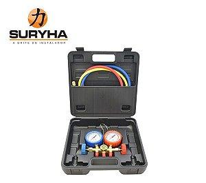 Kit Manifold 1/4 com Maleta | R22/R134/R404 Suryha