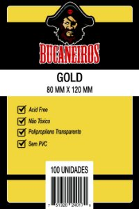 Sleeves Bucaneiros 80x120mm - Gold - com 100 Unidades