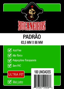 Sleeves Bucaneiros - Padrão ULTRA FIT 63.5x88mm c/100 - Para Magic e Pokemon
