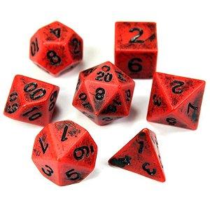 Conjunto de Dados para RPG - Envelhecido - Vermelho e Preto