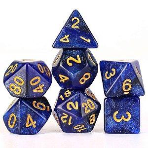 Conjunto de Dados para RPG - Glitter - Azul e Preto