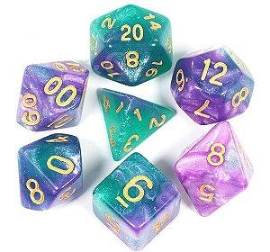 Conjunto de Dados para RPG - Glitter - Verde e Lilás
