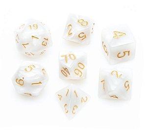 Conjunto de Dados para RPG - Mármore - Branco e Dourado