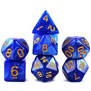 Conjunto de Dados para RPG - Mármore - Azul e Dourado