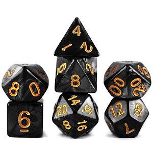 Conjunto de Dados para RPG - Mármore - Preto e Dourado