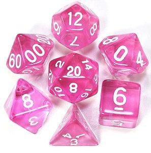 Conjunto de Dados para RPG - Translúcido - Rosa