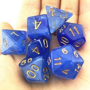 Conjunto de Dados para RPG - Pedra - Azul Escuro