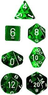 Conjunto com 7 Mini Dados (d4, d6, d8, 2 d10, d12 e d20) Verde Translúcido CHESSEX
