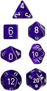 Conjunto com 7 Mini Dados (d4, d6, d8, 2 d10, d12 e d20) Azul Translúcido CHESSEX