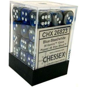 Conjunto com 36 Mini Dados d6 (12 mm) Azul e Cinza CHESSEX