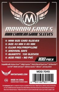 Sleeves Mayday 43x65mm - Mini Chimera - com 100 Protetores de carta para Chaos In The Old World, Mansions of Madness, Talisman, e muitos outros