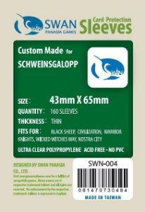 Sleeves Swan Panasia Games 43x65mm - Custom Made for SCHWEINSGALOPP - THIN com 160 Protetores de carta