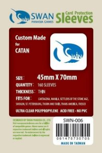 Sleeves Swan Panasia Games 45x70mm - Custom Made for CATAN - THIN com 160 Protetores de carta