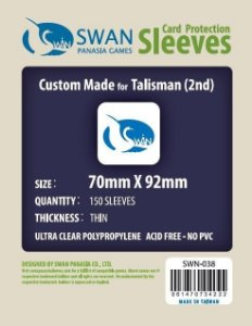 Sleeves Swan Panasia Games 70x92mm - Custom Made for TALISMAN (2nd) - THIN com 150 Protetores de carta