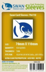 Sleeves Swan Panasia Games 70x110mm - Custom Made for FELIX - THIN com 150 Protetores de carta