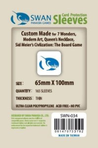 Sleeves Swan Panasia Games 65x100mm - Custom Made for 7 WONDERS, MODERN ART, QUEEN´S NECKLACE, SID MEIER´S CIVILIZATION: THE BOARD GAME - THIN com 165 Protetores de carta