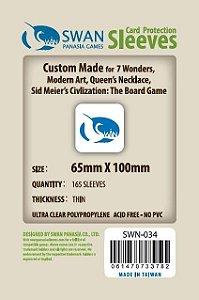 Sleeves Swan Panasia Games 65x100mm - Custom Made for 7 WONDERS - THIN com 165 Protetores de carta