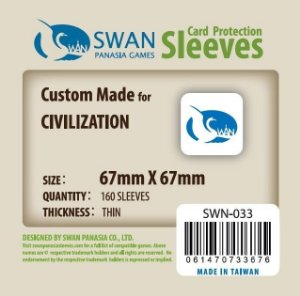 Sleeves Swan Panasia Games 67x67mm - Custom Made for CIVILIZATION - THIN com 160 Protetores de carta