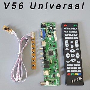 Controladora Universal V56 TV LCD Placa de Driver de Controlador de PC/VGA/HDMI/Interface USB