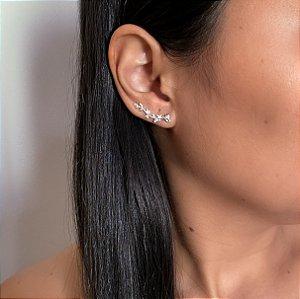 Brinco ear cuff folhas em Prata 925