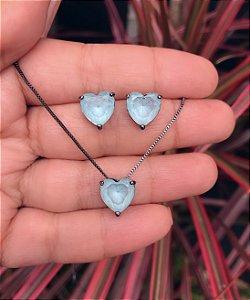 Conjunto coração pequeno com pedra azul