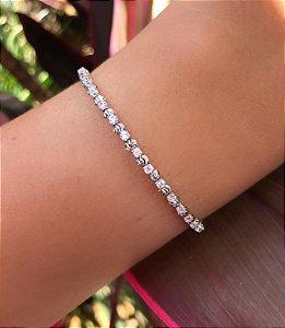 Pulseira bracelete maleável bolinha com detalhe e zirconias cristais banhada a Ródio Branco
