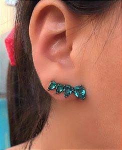 Brinco ear cuff gotas turmalina banhado a Ródio Negro