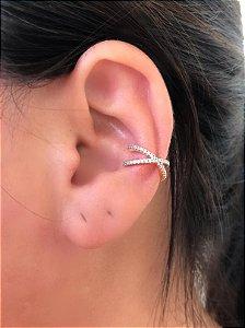 Piercing X cravejado zirconia cristal